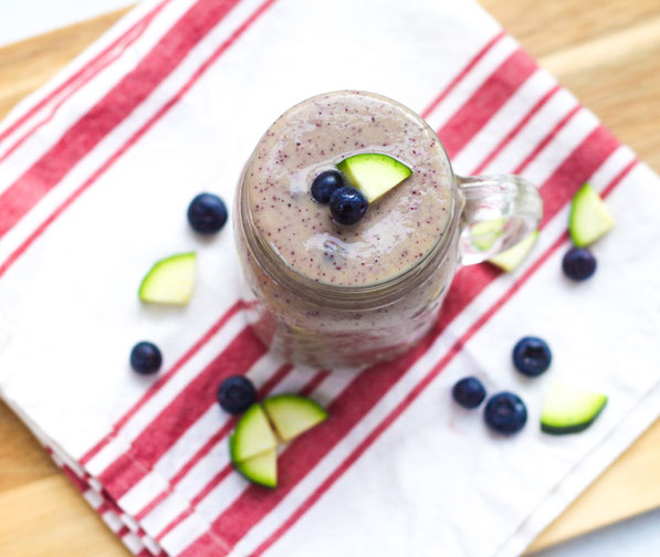 This fresh smoothie recipe with blueberries and zucchini is the perfect way to sneak some veggies in at breakfast!