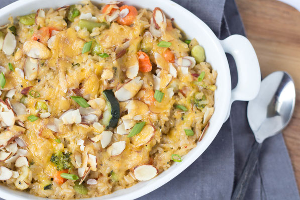 This easy brown rice and veggie casserole is made entirely from freezer and pantry staples!  It's a quick and healthy vegetarian recipe for a busy weeknight!