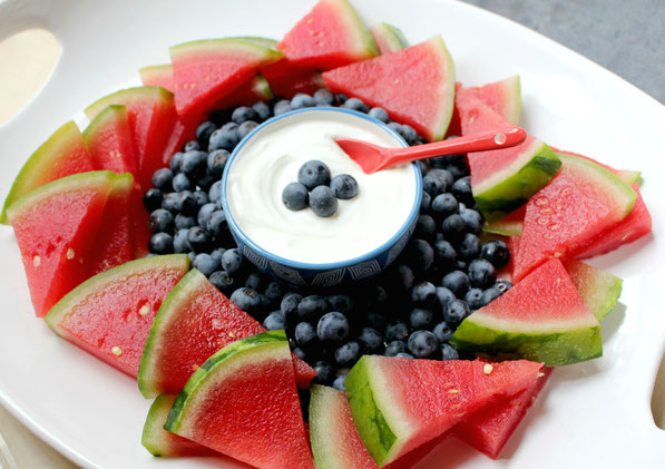 The perfect healthy and patriotic fruit platter with Greek yogurt dip!
