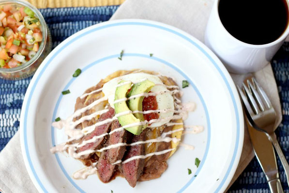 Easy, healthy high protein steak huevos rancheros recipe!  Perfect weekend breakfast or brunch!