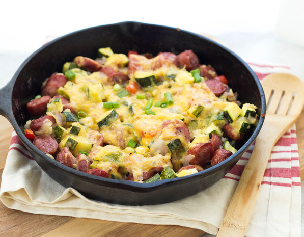 This one-skillet wonder with sausage, zucchini, and potatoes is a delicious (plus gluten free) dinner the whole family will love!