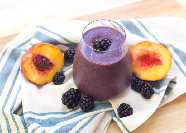 Blackberries and peaches are the perfect base for this creamy smoothie!  It's a healthy summer breakfast recipe that's refreshing and light!