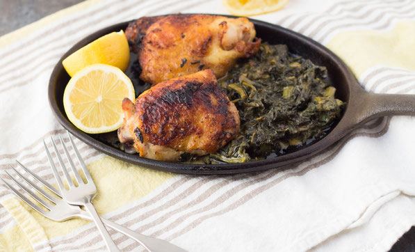 This easy lemon-garlic chicken dinner recipe with creamed spinach for two is the perfect go-to for a busy weeknight!  This chicken is also super moist and tastes like homemade rotisserie chicken.  :)