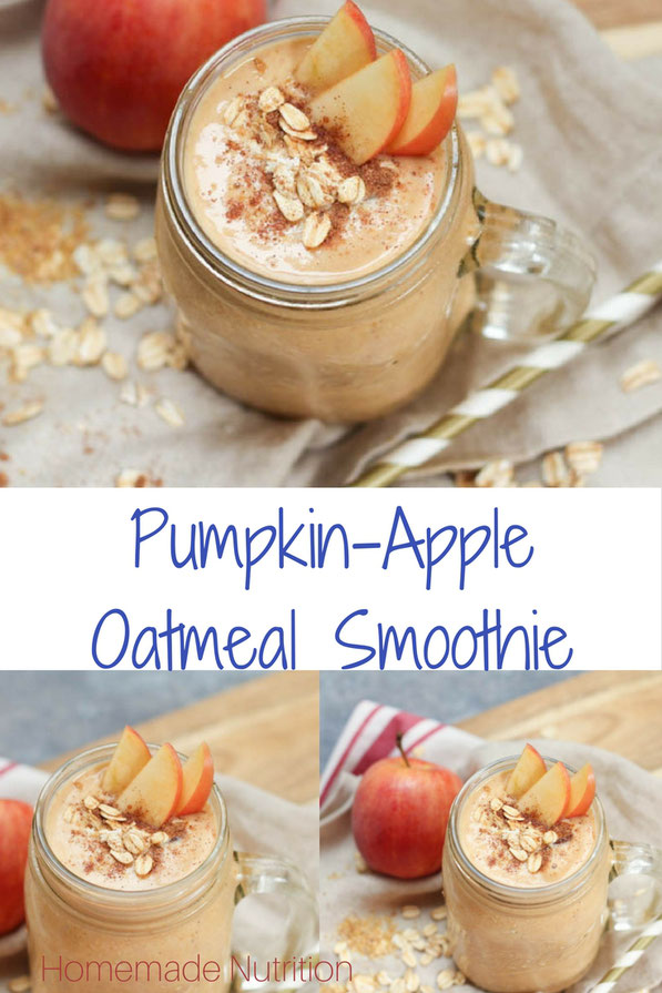 This high fiber pumpkin spice smoothie with oats, flax, and Greek yogurt is a filling breakfast that can also help boost your digestive health this holiday season!