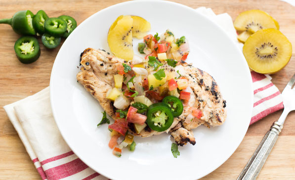 This kiwi-jalapeno marinated grilled chicken recipe with kiwi pico de gallo is the perfect blend of sweet and heat.  It's a unique, fun, and healthy dinner that's just right for summer! #AD