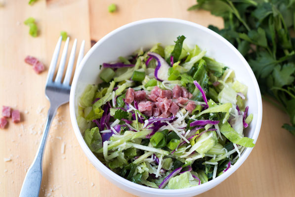 This easy Italian chopped salad recipe is a fun way to eat more veggies!   It's a great entree salad for lunch or dinner.