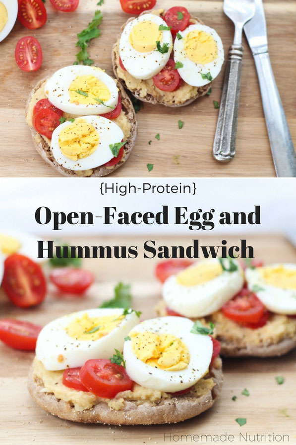 This tasty twist on an egg sandwich is a flavorful and filling way to start the day!  Eggs, hummus, and a whole grain English muffin are the base of this quick, high protein breakfast recipe!