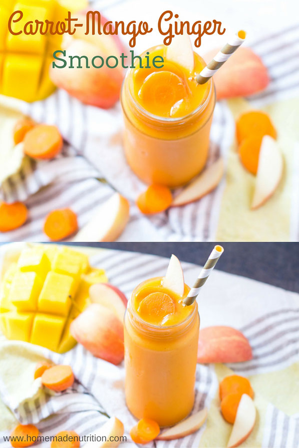 This vegan carrot, mango, and ginger smoothie is packed with vitamins, minerals and fiber.  It's a great way to add a refreshing boost of nutrition to a busy morning!