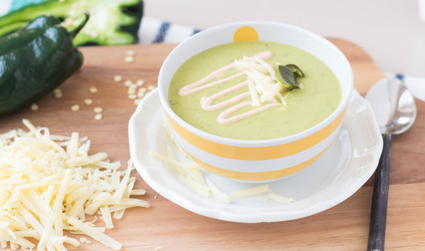 This light and creamy vegetarian roasted poblano white cheddar soup recipe takes only 30 minutes to make.  Perfect for a busy weeknight dinner!