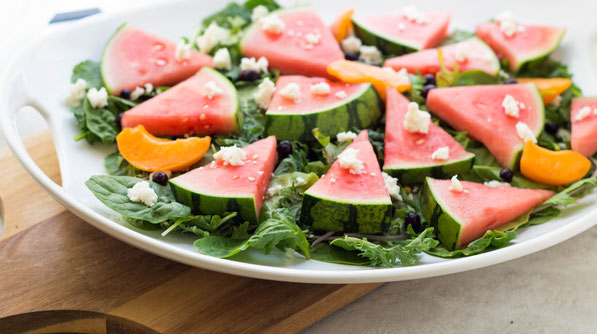 These easy summer platter salad featuring fresh watermelon is the perfect fresh seasonal dish to bring to bring to parties!  It's simple, refreshing, and easy to customize to your taste!