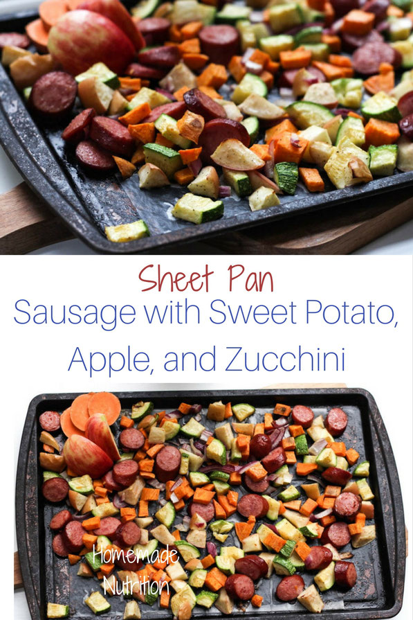 This easy gluten free sheet pan dinner made with turkey sausage,  sweet potatoes, apples, and zucchini is the perfect quick weeknight fall-inspired healthy dinner recipe!