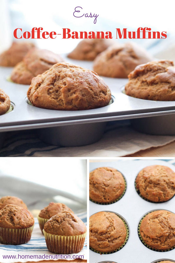 These easy, lighter banana muffins get a special boost of flavor from coffee!  It's a simple breakfast recipe that can be made in advance and kept in the freezer for busy mornings!