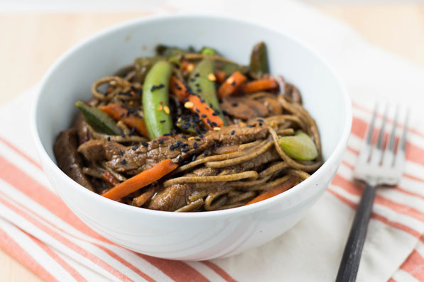 Frozen stir-fry vegetables and a delicious, easy-to-make marinade are the perfect addition to this quick beef, soba noodle, and veggie stir fry.  This recipe is healthy homemade fast food at it's finest!