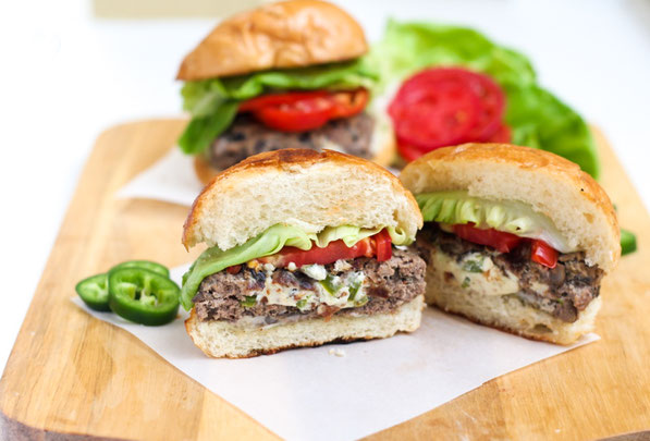 This lighter jalapeno popper-stuffed burger recipe made with diced mushrooms and beef is flavorful, juicy, and perfect for a weeknight dinner or family barbecue!