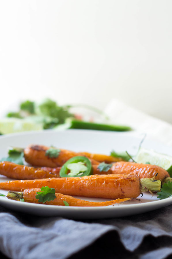 Jalapeno-lime honey glazed carrots are the perfect spring veggie side dish!
