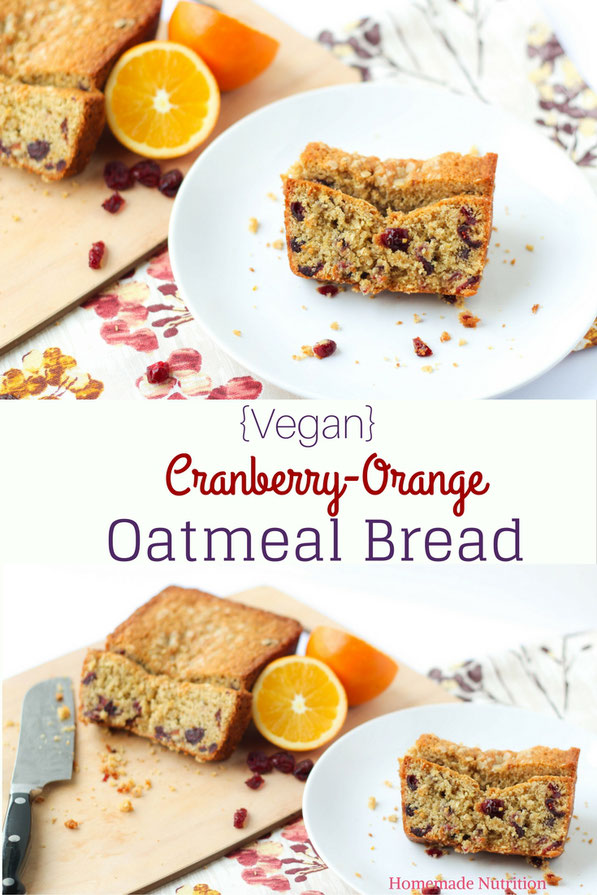 Vegan cranberry-orange oatmeal bread is the perfect fall/holiday breakfast or sweet treat!  It's moist, tender, and packed with sweet cranberry-orange flavor!