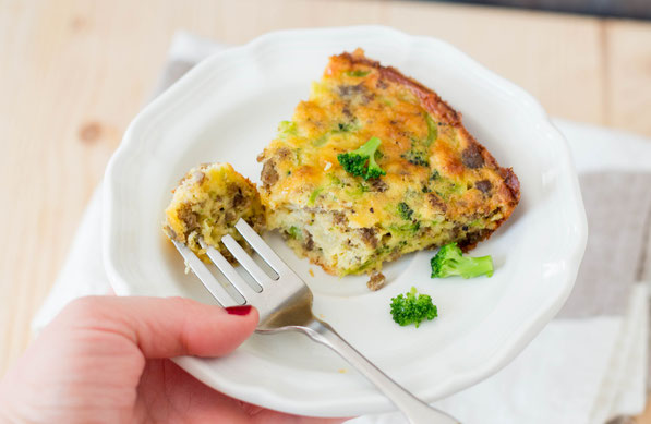 """This sausage, broccoli, and cheese frittata is easy to make and will be a hit with the whole family!  It's the perfect recipe for a healthy """"breakfast for dinner"""" weeknight meal!"""