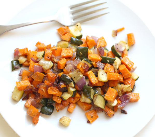 family-favorite roasted butternut squash, zucchini, and onion recipe!  So easy, healthy, and delicious!