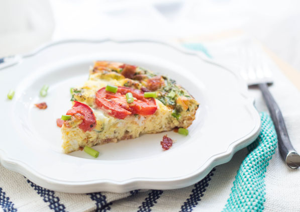 "Breakfast for dinner just got a little more fun with this flavorful (plus gluten free) ""BLT"" frittata recipe!"