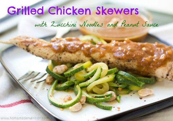 Zucchini noodles coated in a delicious peanut-sauce served with chicken skewers is a light and flavorful weeknight meal the whole family will love!
