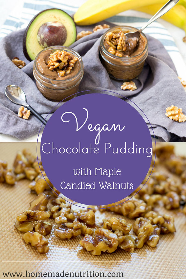 This vegan chocolate pudding with candied walnuts is the perfect healthy summer dessert!  It only takes a few minutes to make and is packed with flavor!  #AD