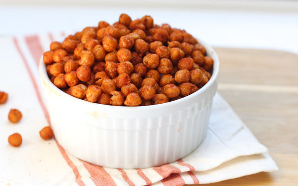 These BBQ roasted chickpeas are the perfect substitute for chips!  If you like salty, crunchy treats but still want a high-fiber, high-protein snack, this recipe is for you!