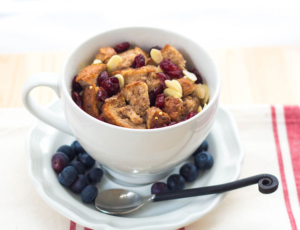 This cranberry-almond french toast mug  is a high-protein healthy breakfast treat that's ready in minutes!
