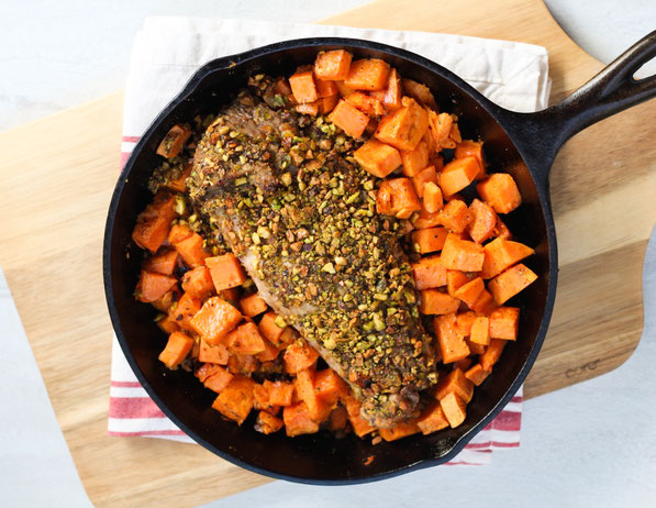 #AD This one-skillet pistachio crusted pork tenderloin recipe with roasted sweet potatoes is the perfect fast, healthy dinner!  It's also low carb and gluten free!