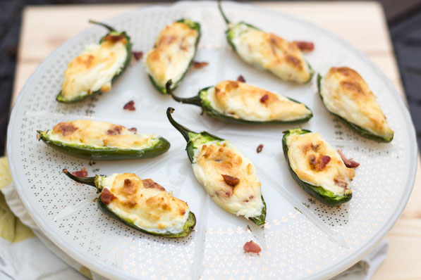Lighter stuffed bacon cream cheese jalapeno poppers recipe!  This is the ultimate crowd-pleasing snack or appetizer!