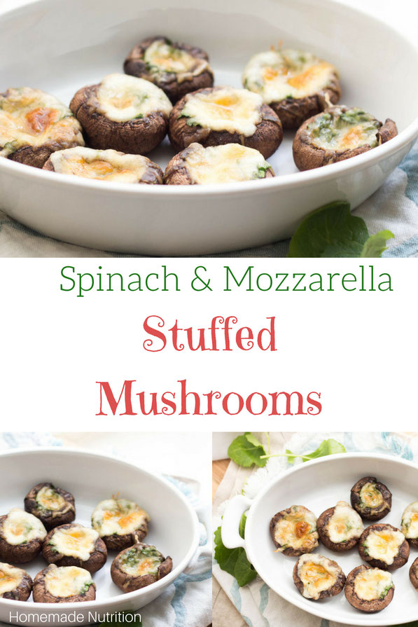 Five ingredients and under 30 minutes to these easy low-carb and gluten free mozzarella-spinach Italian stuffed mushrooms!
