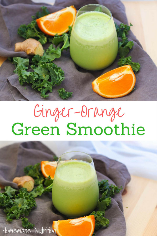 Kale, fresh ginger, and orange are a refreshing combination that makes this green smoothie completely satisfying and delicious!  Perfect healthy gluten free breakfast option!