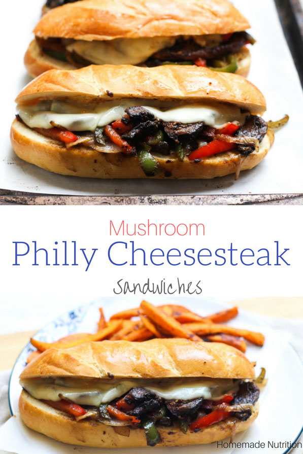 Hearty portabella mushrooms are the star of this vegetarian Philly cheesesteak sandwich recipe!  It's an easy vegetarian lunch or dinner the whole family will enjoy!
