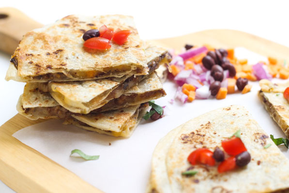 These freezer-friendly quesadillas are packed with protein plus a nutrition boost from the flavorful filling with beef, mushrooms, sweet potatoes, and black beans.  Great weeknight dinner recipe ready in 10 minutes!