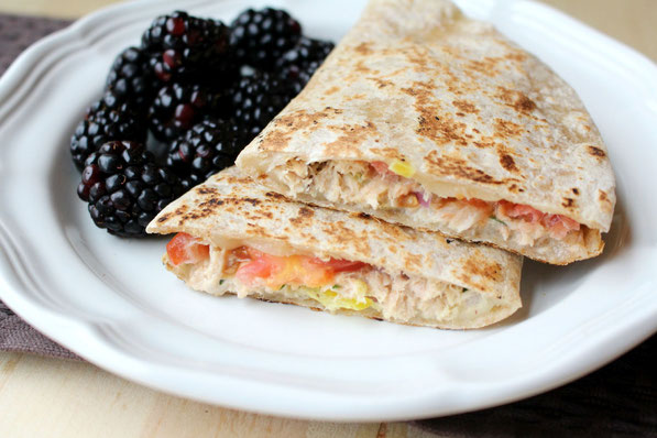 These healthy tuna melt quesadillas are a fun and tasty twist on a classic tuna melt recipe that the whole family will love!