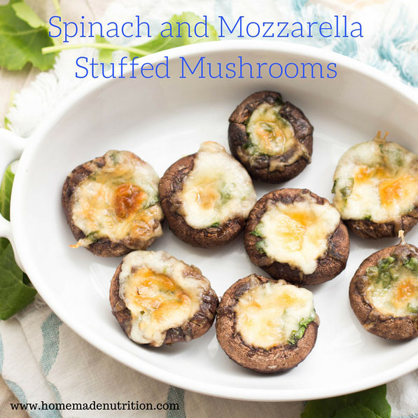 Just five-Ingredients to these easy low-carb and gluten free mozzarella-spinach Italian stuffed mushrooms!
