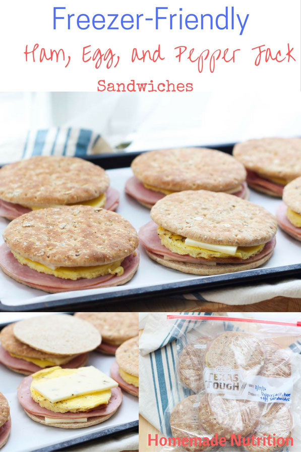 Weekday mornings just got a little more delicious with these easy (plus healthy) make-ahead freezer ham and egg sandwiches with pepper jack cheese...The perfect fast and high protein breakfast recipe!