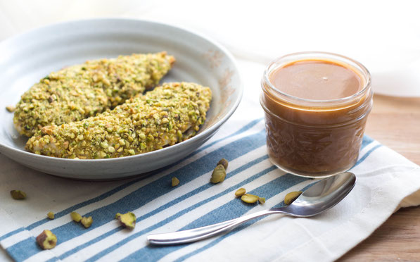 These healthy pistachio-crusted chicken tenders come together in just a few minutes, and the homemade BBQ honey-mustard dipping sauce is the perfect fun addition to this tasty meal!These healthy pistachio-crusted chicken tenders come together in just a fe
