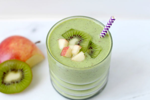 This kiwi apple green smoothie is  beautiful and light - perfect for getting back to clean eating!