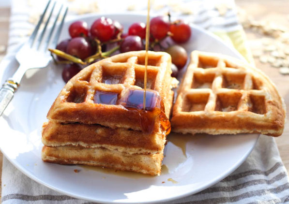These tasty homemade waffles with the nutty goodness of whole grain oats are the perfect way to start the day!  They're also a great freezer-friendly breakfast, so you can have a hearty, homemade waffle on-hand any day of the week!
