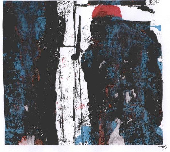 Mönch, Akryl auf Leinwand, 2004, F. Sacco