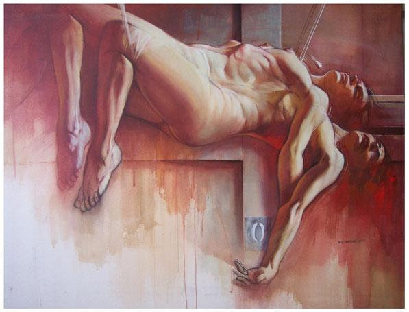 Véronique PICCIOTTO peinte par Claude DUVAUCHELLE pour le film SUIVEZ LA FLÈCHE