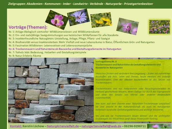 Trockenmauern und Natursteine als Bauwerke und Gestaltungselemente im Naturgarten