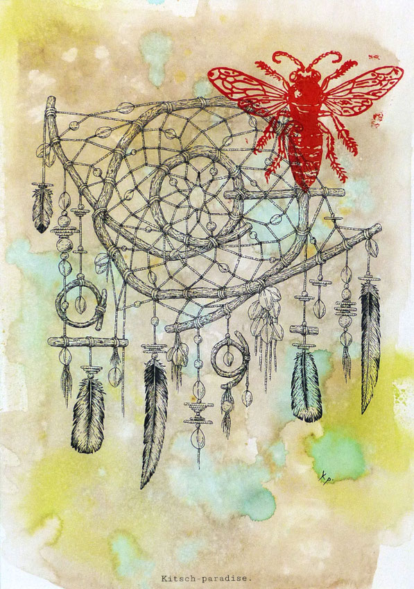 Kitsch, paradise, artisan, créateur, art, dessin, nature, encre de chine, abeille, attrape rêves