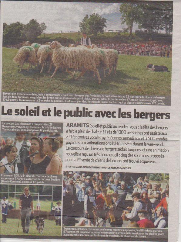 Rencontres Vocales à Aramits, Septembre 2012, article paru dans le journal Pyrénées-Atlantiques