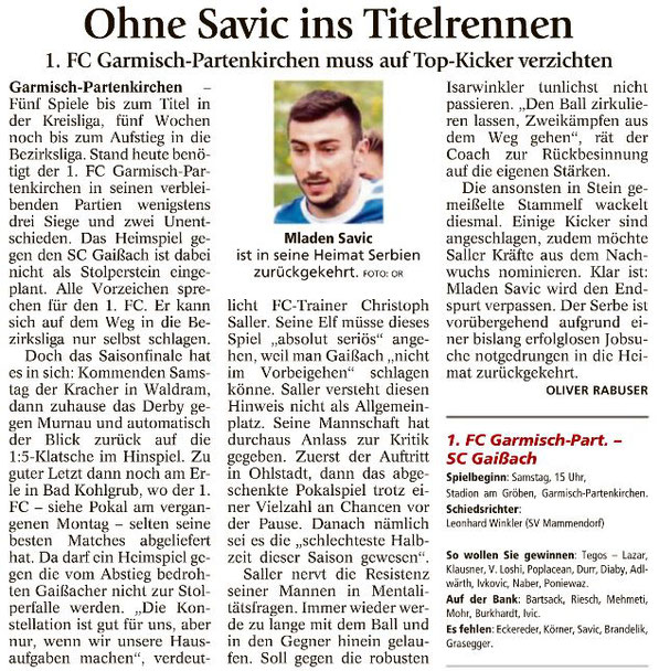 Ga-Pa Tagblatt vom 06.05.2017