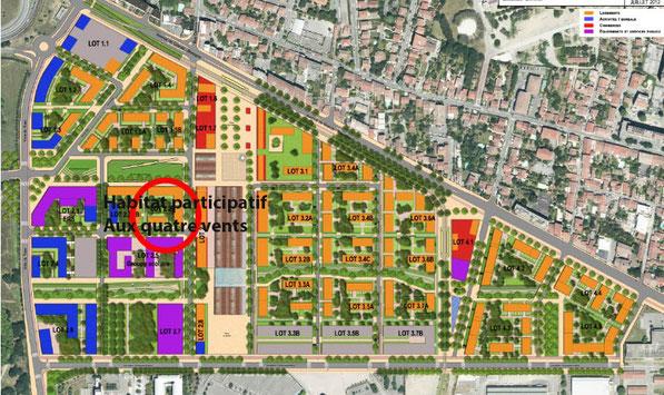 Emplacement de l'îlot participatif dans l'écoquartier de la Cartoucherie à Toulouse