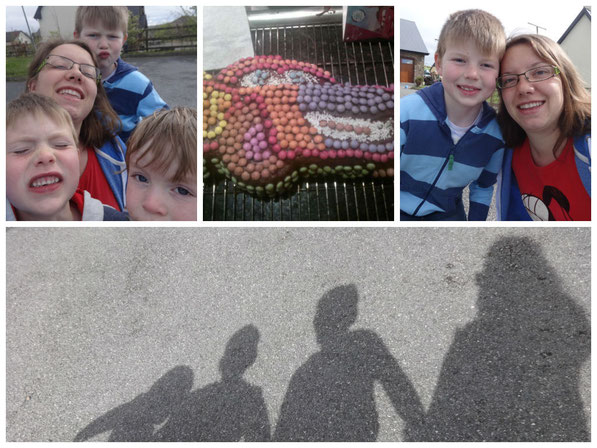 Wir alle vier, sein Geburtstagskuchen von mir, James und ich, alle vier der größe nach sortiert :)