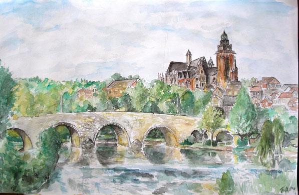 Alte Lahnbrücke Wetzlar/Aquarell  ( verkauft )