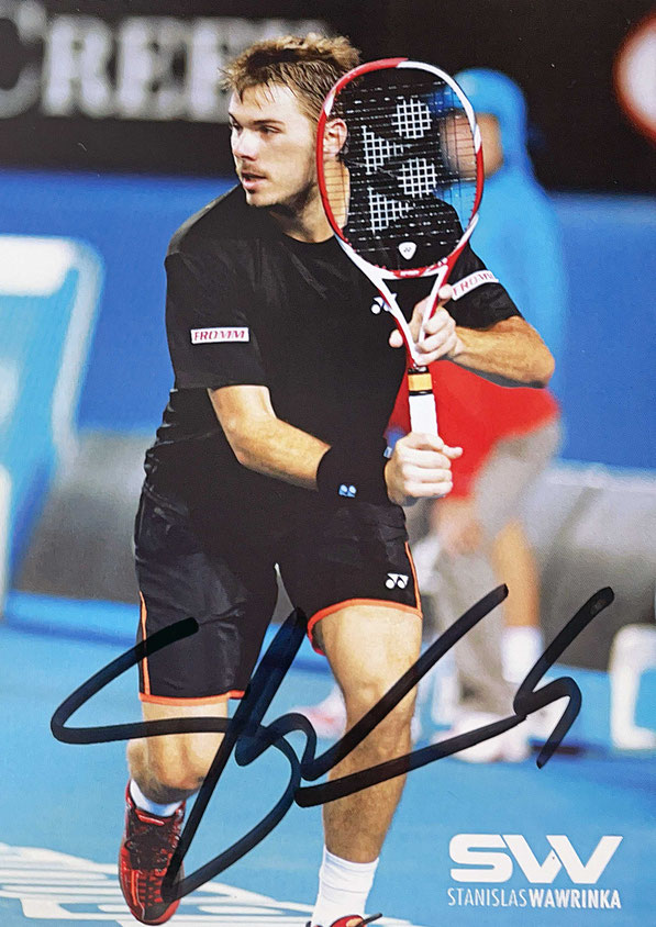 Stan Wawrinka, 3 Grand Slam Titles, Olympia Gold with Roger Federer in Bejing, Autograph by Mail