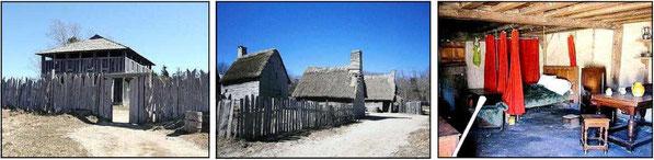ピルグリム砦入口の2階楼と住居および住居内部(Fort Gate and House of the English Village)
